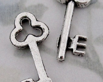 10 pcs. casted pewter silver skeleton key charms 23x9mm - f2878