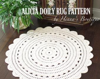 "Crochet Doily Rug Pattern - ""ALICIA"" 35 inch rug - PDF"