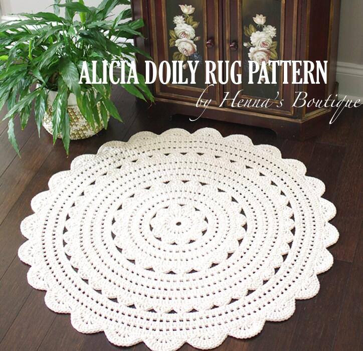 Crochet Doily Rug Pattern ALICIA 35 inch rug