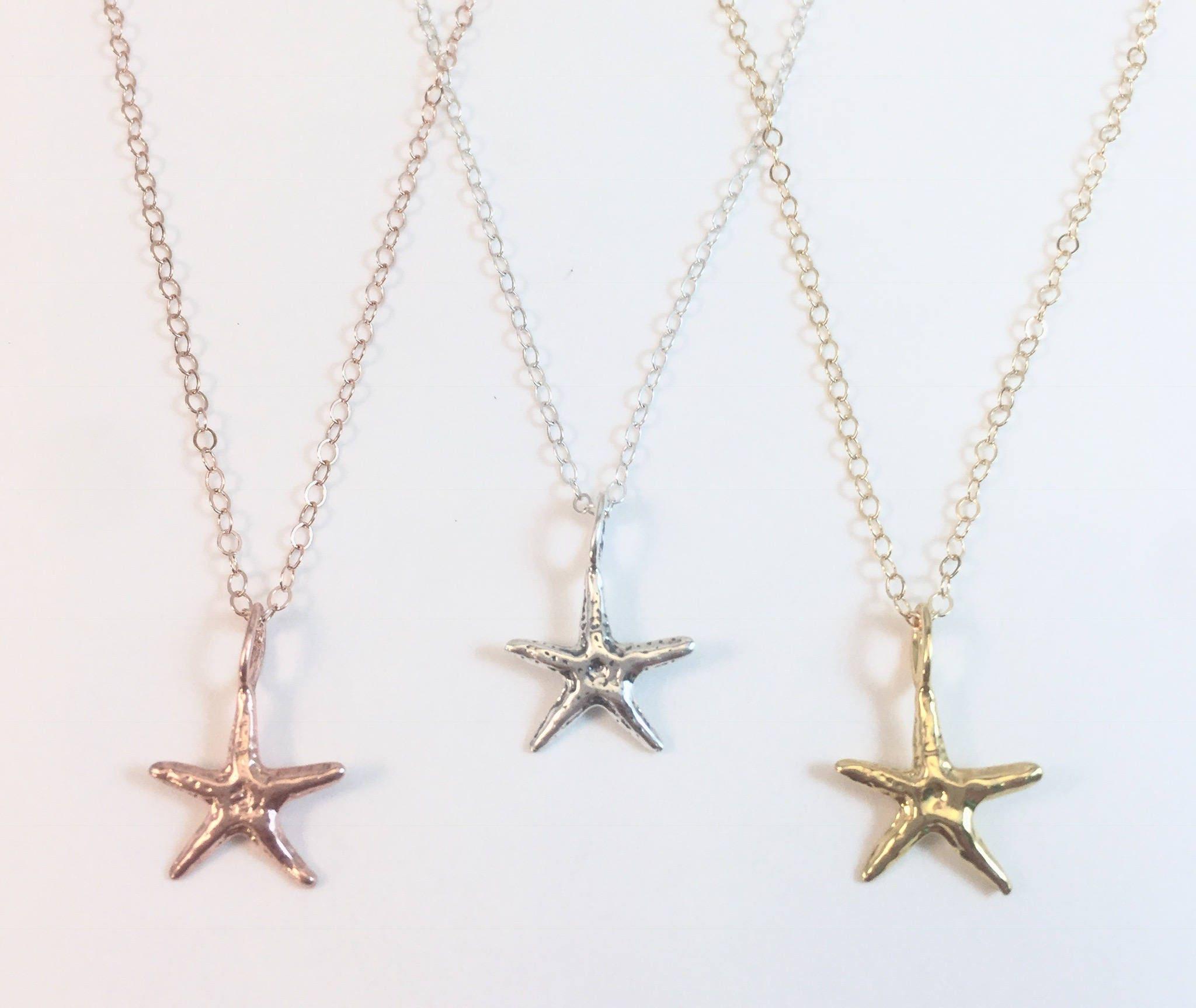Starfish Necklace Gold Starfish Rose Gold Starfish Dainty