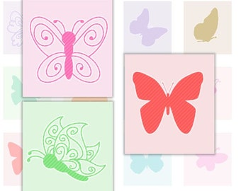Butterflies Digital Collage Sheet 4x6 Scrabble Tile Images Instant Download 1 inch Squares