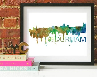 Durham Watercolor Skyline, Durham Skyline, Durham Art, Durham Poster, Durham Print, Durham Art, Durham Map, Durham Wall Art, North Carolina