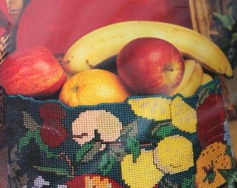 Golden Bee Plastic Canvas Kit, Oval Fruit Basket Kit, Needlepoint Craft Kit