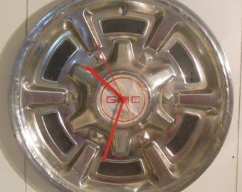 GMC truck hubcap clock