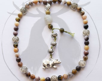 Mother Bear Prayer beads with Dendritic Opal