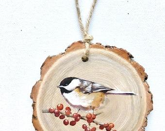 Chickadee Wood Tree Slice Wall Art