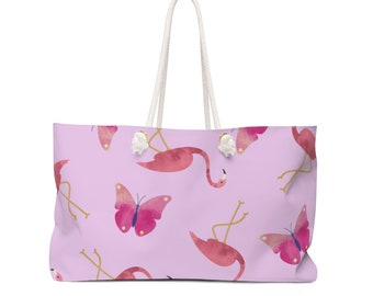 Pink Flamingo and Butterfly Weekender Bag, Tote Bag, Beach Bag, Summer Bag, Summer Fashion, Ladies Fashion, Animal Print