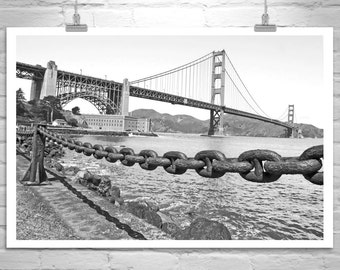 Golden Gate Bridge, Black and White Photograph, San Francisco Gift, Fort Point Photo, Bay Area Picture, Wall Art, Canvas Print, Home Decor