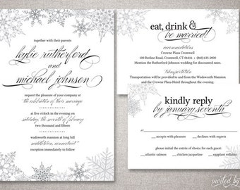 Calligraphy Lauren Wedding Invitation Suite - Wedding invitation templates: winter wedding invitation templates free