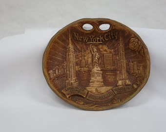 """50's era NYC souvenir, 10.5 x 11.5"""", appealing off-brown color. Set off your fly-blown walls"""