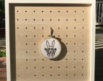 "Louise Belcher 3"" Embroidery Hoop Art / Bob's Burgers / Fan Art / Wall Hanging / Black And White / Portrait"