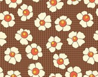 "By The HALF YARD - Feedsack 3 by Sara Morgan for Blue Hill, #7943-3, 1930's Reproduction, Creamy White 1"" Flowers on a Tonal Checked Brown"