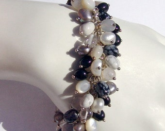 SaLe! sALe! Bracelet Crystal Onyx Mother of Pearl Sterling Silver