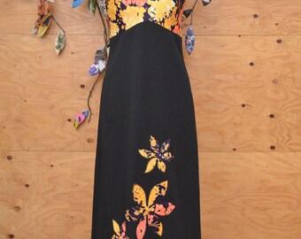 Vintage 60's Dress Black Floral Maxi Dramatic Dark Colors SZ M