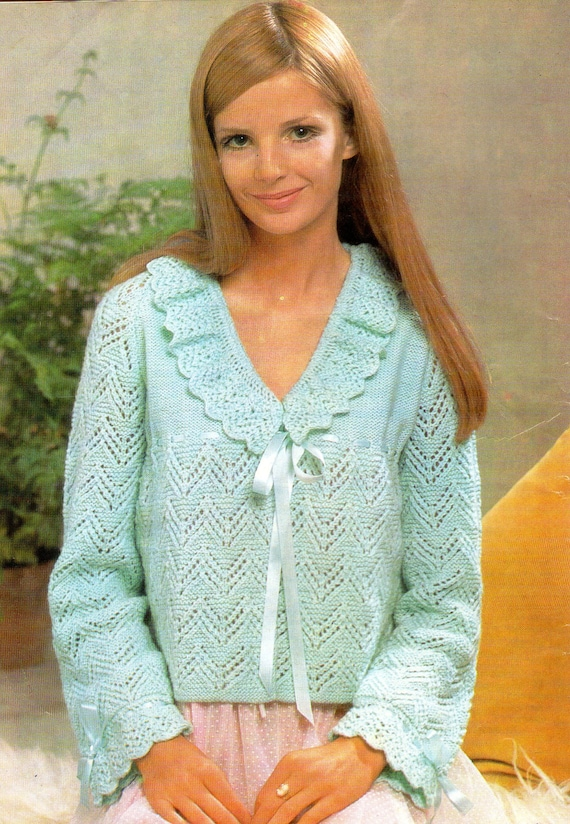 Items Similar To Bed Jacket Vintage Knitting Pattern Pdf Frilly And