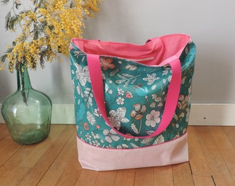 Pink and green floral tote bag