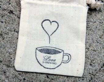 coffee wedding favors, rustic wedding favor set of 25, muslin tea favor bags, burlap and lace wedding, coffee favor bags, Barn Wedding,