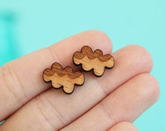 Boho Wooden Cloud Earrings