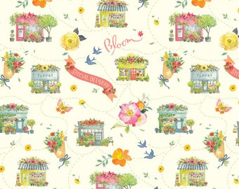 Chelsea Market Columbia Road Ivory - Blend Fabrics by Brenda Walton premium cotton limited edition by the yard by the fat quarter floral