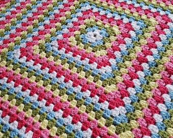 "Crocheted Granny Square Blanket 23.5"" x 23.5"""
