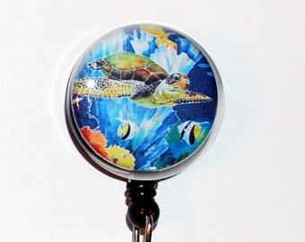 Badge Holder ID Green Sea Turtle fish Teacher Designer Gift Retractable  Reel Clip