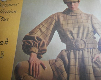 Vintage 1960's McCall's 1045 New York Designers' Rudi Gernreich Dress and Belt Sewing Pattern Size 10 Bust 32.5