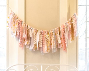 Gold, Silver, Pink, & White Scrap Fabric Banner