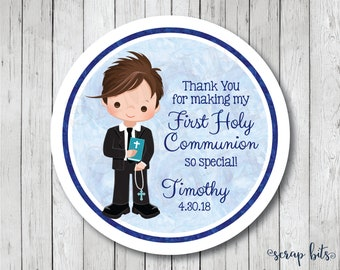 Personalized First Communion Stickers, Boy Communion Tags, First Holy Communion Favor Tags, Communion Labels, Watercolor Communion Tags