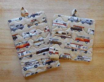 Campers and More Campers Pot Holders Tan - Camper Pot Holder - Camping Pot Holders - Hot Pads - Trivet - Oven Mitt - Camping Decor - Campers