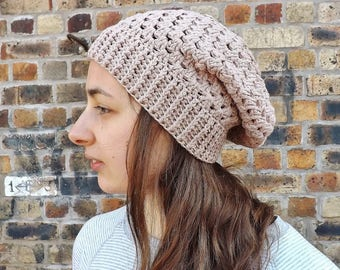Summer Beanie, Womens Cotton Toque, Organic Cotton Hat, Festival Beanie, Slouchy Hat, Airy Hat, Gift for Her, Boho Hat, Gift for Teenager