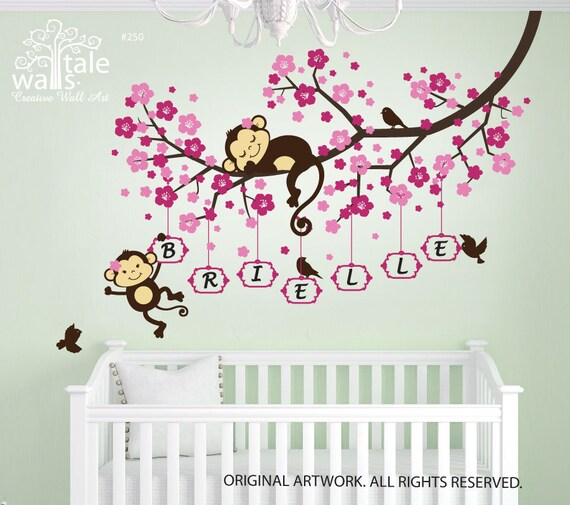 4 Cute Monkeys Wall Decals Sticker Nursery Decor Mural: Cherry Blossom Tree Branch Wall Decal With Cute Monkeys And
