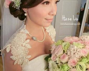 Mariage nuptiale ivoire de dentelle perlée Keyhole Retour Bolero veste de Shrug cousu à la main. Made to Order.