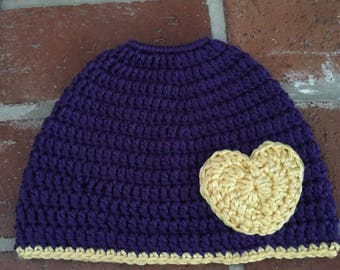 Purple and Yellow Handmade Crochet Messy Bun or Ponytail Hat with Heart Appliqué Child or Adult