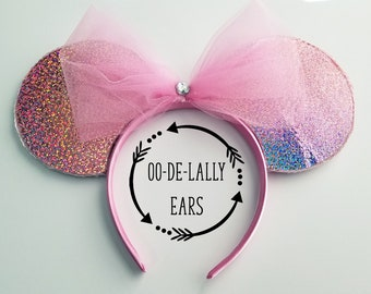 Holographic Pink Ears, Holographic Pink Mickey Ears, Holographic Pink Minnie Ears, Holo, Pink Sparkle, Glitter, Pink Glitter, Pink Holo