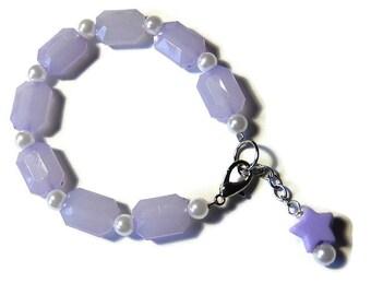 Purple Pearl Bracelet, Fairy Kei, Pastel Star Jewelry, Pastel Goth, Lavender Kawaii