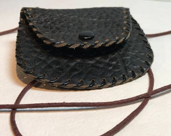 Vintage Black Leather Coin Purse Tiny Leather Neck Pouch Retro Accessories Collectables