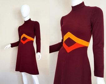 Vintage 60s Dress / Mod Dress / Fannye's Roanoke Rapids NC / Color Block Dress / Vintage Wool Dress / Size S