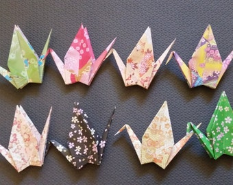 Large origami paper cranes - 8 different patterns - great for weddings, birthday parties, place cards