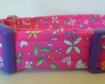 """Pink Floral Dog Collar - Girl Dog Collar - Girly -Floral Magenta, Pink, Purple, Turquoise and Orange-""""Jessica"""" - Free Colored Buckles"""
