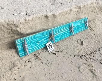 Boat Cleat Coat Rack, Nautical Towel Rack, Book Bag Rack, Hat Rack, or Key Rack Distressed Teal