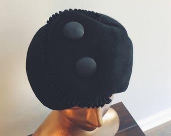 1960s black wool Schiaparelli hat