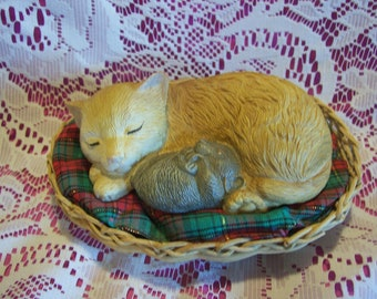 Sleeping Cat and Mouse in a Basket Figurine