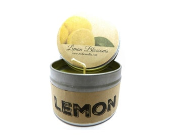 Lemon Blossoms - 4 ounce soy tin candle take it anywhere! Approximate Burn Time 36 Hours