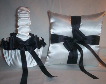 White Satin With Black Ribbon Trim Flower Girl Basket And Ring Bearer Pillow Set 1