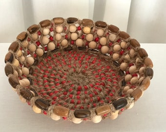 Red & Beige Open Wood Bead Basket