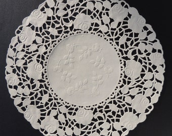 50 - 8  White ROSE FLORAL Lace Paper Doilies | Round White Doilies Placemats Wedding Party Decorations White Paper Doilies & Largest Selection of Paper Doilies Online by ThePaperDoilyStore