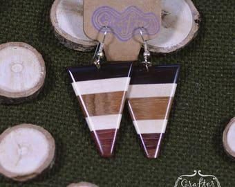 Striped Triangle Coconut Natural Eco Earrings - Geometric Jewellery