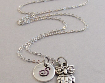 Owl Necklace,Owl,Owl in handmade,Personalized Necklace,Custom Necklace,Monogram,Initial Necklace,Pendant,Silver Necklace,valleygirldesigns.