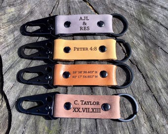 Custom Leather Keychain, Key chain, 3 year anniversary Keychain, Leather Keychain, Personalized keychain, mens gift, gift for him, dad gift