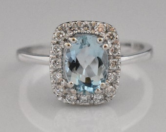 14K White Gold Aquamarine & Diamond Ring | Wedding Ring | Engagement Ring | Diamond Halo | Statement Ring | Handmade Fine Jewelry